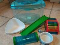 Hamster/small animal travel cage and toys