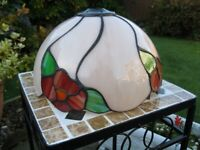Tiffany or Tiffany Style Pink & Multi-Coloured Stained Glass Lampshade - VGC