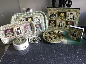 Wilscombe 90's Cat tablemats and tray set melamine