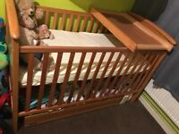 Mamas and papas baby cot + mattress+ underbed storage and top changer