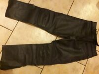 Leather Rayven motorbike trousers. Gents and ladies. Also motorbike boots.