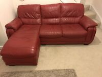 Leather Red Electric Recliner Seat With Red Corner L Shape Sofa Settee - very comfortable