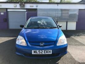 HONDA CIVIC 1.4 VISION 5DOOR BLUE 2003 12 MONTHS MOT EXCELLENT RUNNER PX WELCOME