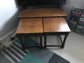 Large oak side tables x 3