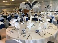 Chair covers, table cloths, backdrop, dj, love letters, Centrepieces and more