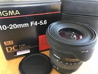 CANON FIT LENS. 10-20mm. SIGMA HSM EX DC