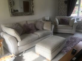 4 seater grand sofa, large chair and storage footstool