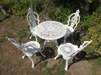 CAST ALUMINIUM GARDEN SET -- TABLE AND 4 CROWN TOP CHAIRS --