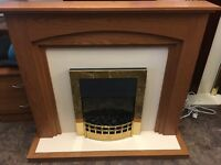 ELECTRIC FIRE WITH FULL SURROUND LIKE NEW IN GOLD