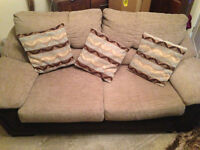 DFS SOFA BED AND MATCHING SOFA (Brown base/Mink cushions)