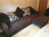 DFS Corner Sofa and matching Foot Stool with Storage - Brown