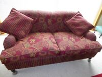 Settees - Hand built pair of 3 seater sofas with matching cushions and castor feet
