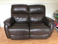 2 seater brown leather electric recliner sofa