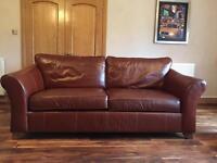 M&S antique tan leather sofa