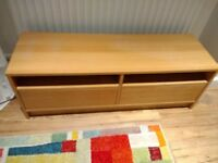 Ikea Oak television stand with storage