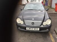 04 MERCEDES C180 COUPE BLACK THIS CARS FOR PARTS FOR ANY PARTS CALL ON