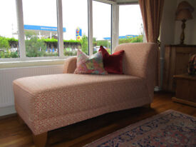 John Lewis Chaise Lounge reupholstered in Laura Ashley Sitwell Brick Fabric