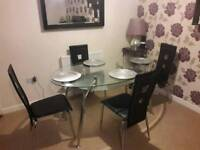 Glass And Chrome Dining Table 4 Chairs