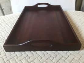 Large Mahogamy Tray...with integral Handles.