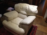 White leather sofa + electric recliner