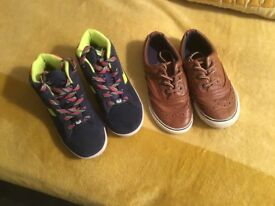 Boys Next navy suede hi top boots and tan trainers size 10, both in very good condition. £8 for both