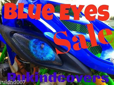 Yamaha Raptor 660 Custom BLUE Eyes HeadLight Covers RUKINDCOVERS ATV MUST HAVE!!