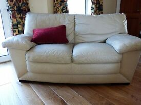 Cream Soft Leather 3 piece suite - 2 sofas and 1 chair