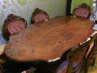 Vintage dining table and chairs in cherry wood