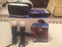 Playstation VR headset inc all cables, 2 move controllers, Playstation camera, Rush Of Blood game