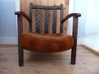 Small Arts and Crafts style wooden armchair