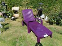 Purple garden folding sunlounger with storage