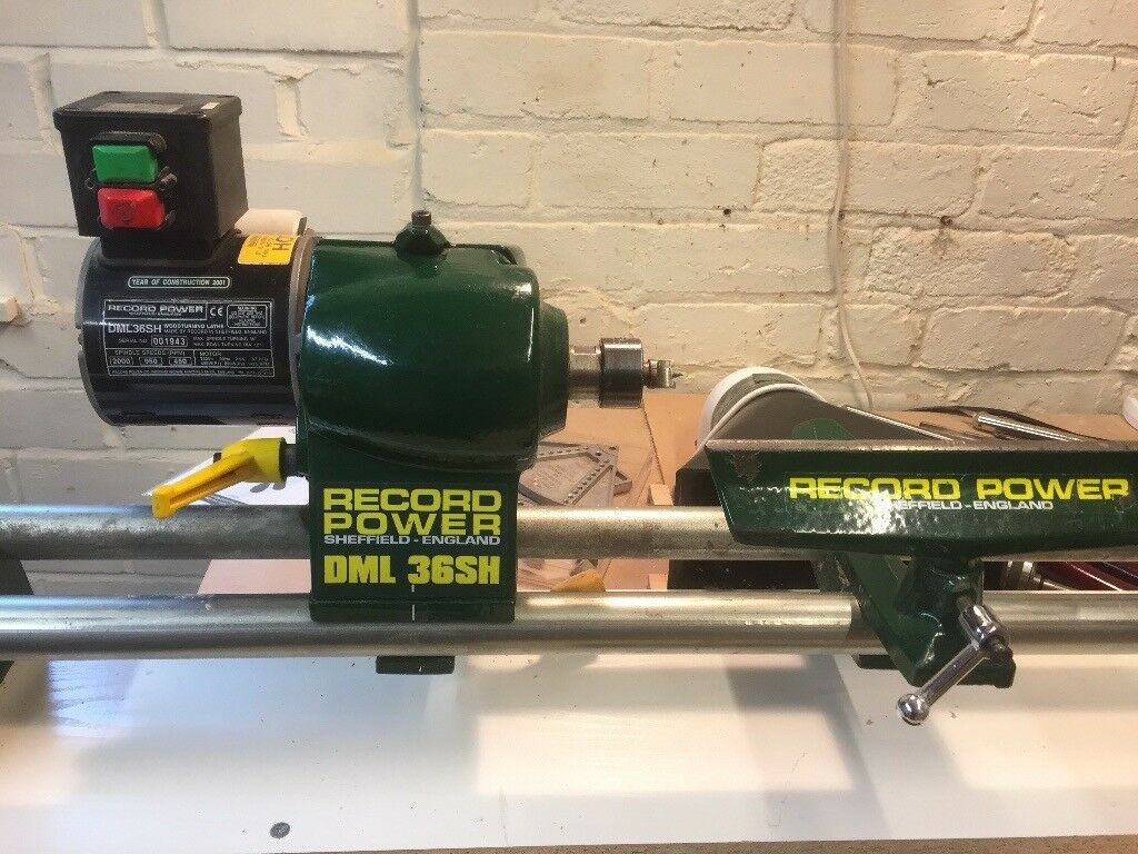 Record Power Dml36sh Wood Turning Lathe Many Tools And Dust