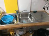 Double bowl kitchen sink & tap