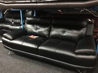 New/Ex Display Black Leather Genoa 3 Seater Sofa