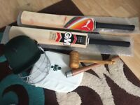 Quick sale!! £90 for 2 x Cricket bats + helmet + thigh guard + mallet + grip cone