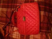 Red patch quilt detail laptop bag PORT