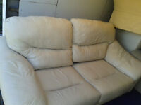 2 seater cream leather sofabed