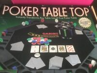 Poker chips and poker table top complete in carrying cases.800 chips .one set not used at all