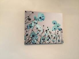Teal and grey canvas