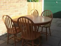 Oval Dining Table and Four Chairs, Very good condition