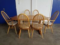 ERCOL DINING TABLE & 4 ERCOL CHAIRS SET LIGHT ELM GOLDEN DAWN DELIVERY AVAILABLE