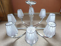 Large Franklite Artemis Chandelier 8 Light Fitting With Silver Shades RRP £872, 8 led bulbs included