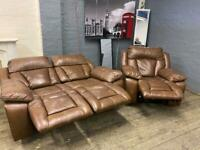 HARVEYS REAL LEATHER SOFA SET ELECTRIC RECLINER 2+1 seater
