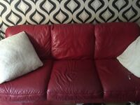 Red leather sofa and chair free to good home still a bit of life left in it 😊