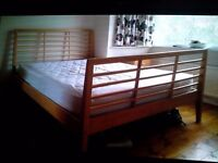 Queen sized wooden double bed and mattress - 2.09m x 1.58m