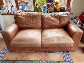 2 piece brown leather Suite- recently reduced in price