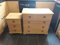 Pine Effect Chest of Drawers & Bedside Table