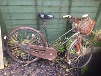 Vintage Ladies Raleigh Cycle with Rod Brakes (Spares or repairs)