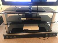 Gorgeous Black Glass and Brushed Silver TV Stand