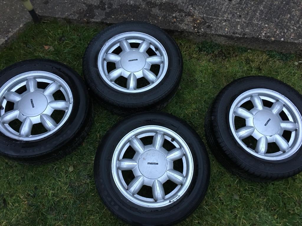 Mazda mx5 Eunos 14 inch 4x100 alloy wheels and tyres daisy style